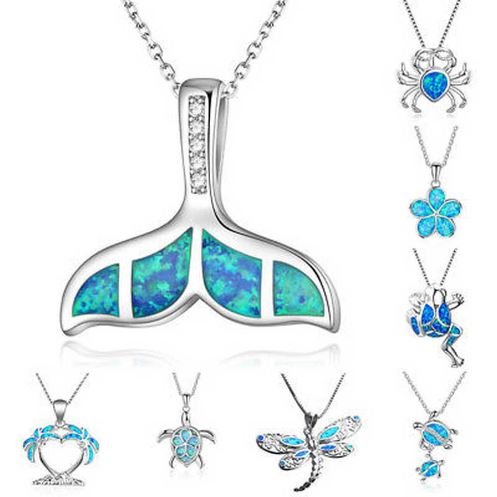 2020 Baru Fashion Diisi Blue Opal Sea Turtle Potongan Liontin Rantai Wanita Pria Kalung Pantai Kalung