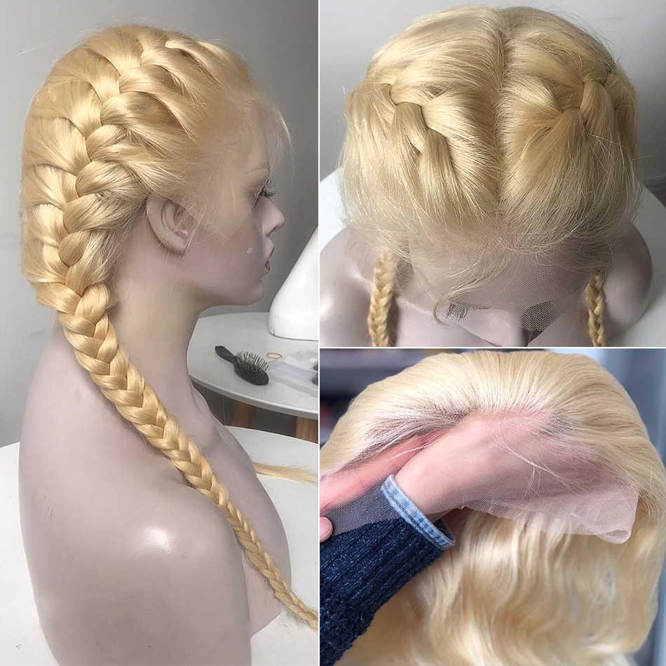 28 30 Cal prosto 13x4 613 blond koronki przodu włosów ludzkich peruk Remy przejrzyste Glueless Frontal peruka wstępnie oskubane dziecko włosy