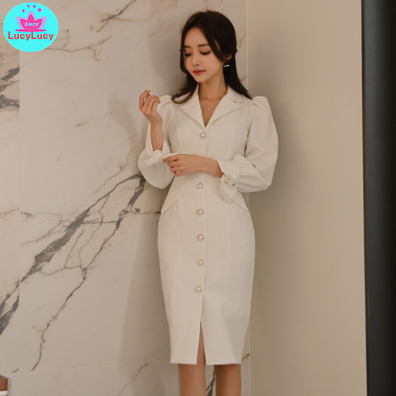 2019 autumn and winter new ladies fashion slim slimming lanterns sleeves waist single-breasted dress