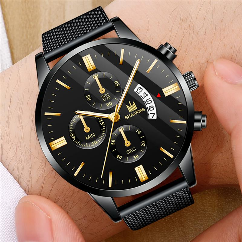Fashion Men Military Sport Watch Black Mesh Band Stainless Steel Quartz Watches Luxury Date Man Wristwatch Relogio Masculino