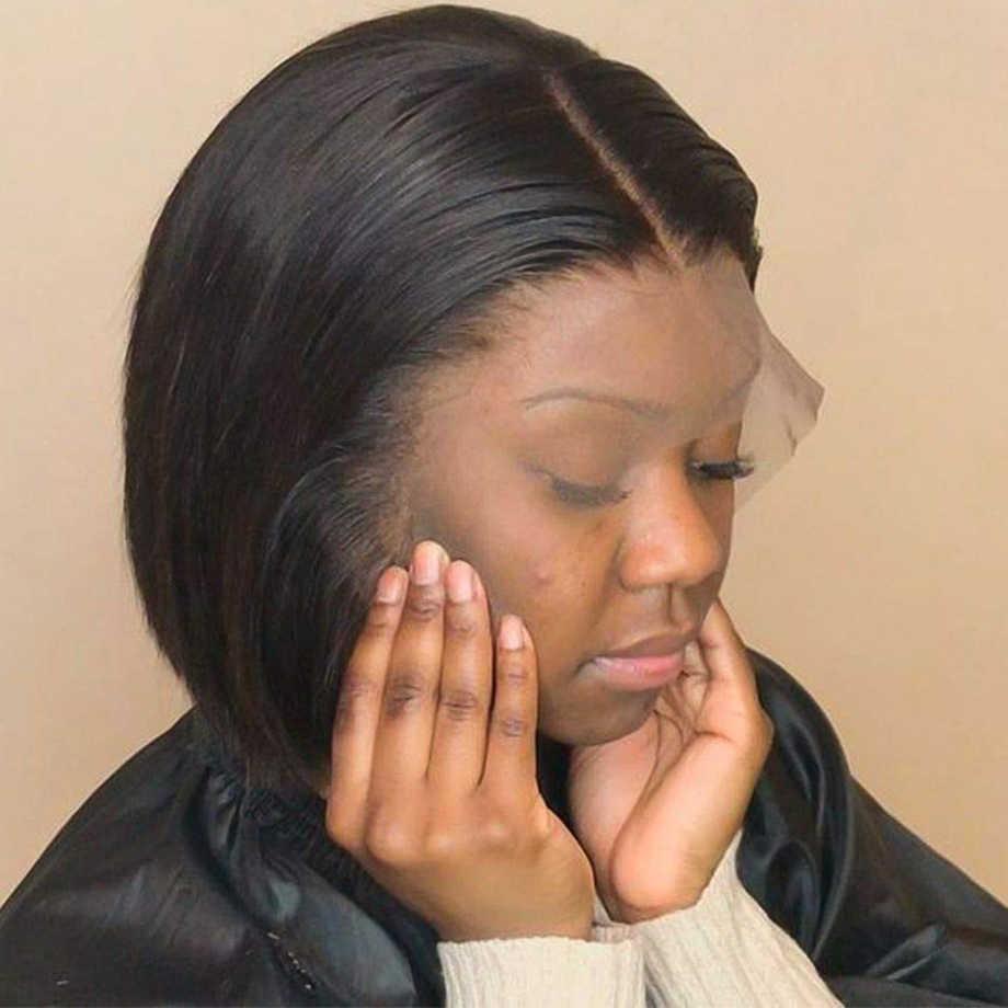 Pelucas de Bob corto, pelucas de cabello humano con frente de encaje recto para mujeres negras, peluca brasileña totalmente Natural, peluca Remy precortada de pelo Frontal Hd