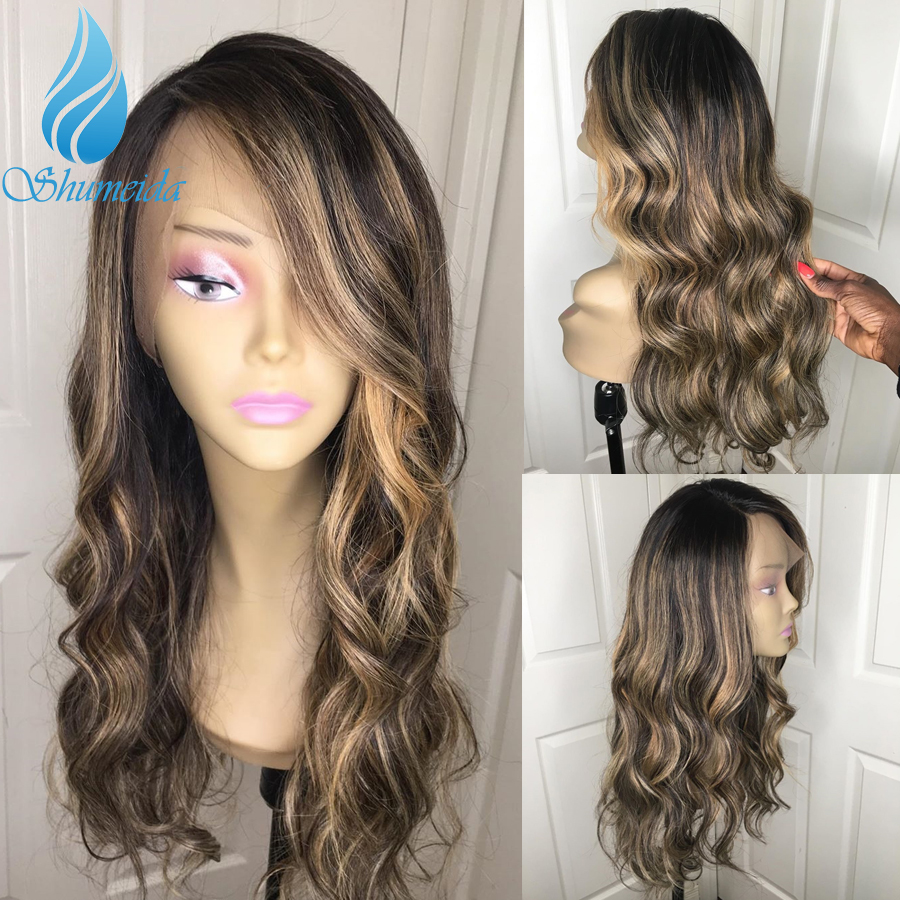 SHD 150% Density 13*6 Lace Front Wigs With Baby Hair Highlight Blonde Color Brazilian Remy Human Hair Loose Wave Wigs