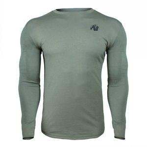Image 2 - Décontracté à manches Longues En Coton T shirt Hommes Gym Fitness Musculation Entraînement Maigre T shirt Homme T shirt à Imprimé Hauts Marque Sportive Vêtements