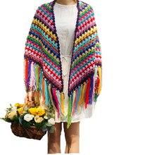 Chromatic colour Handmade Crochet Tassel Scarf wraps women Big flower autumn winter scarves poncho Christmas Gift blanket Scarf