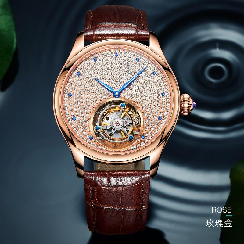 Real dos Homens Marca de Luxo Guanqin Esqueleto Relógio Mecânico Tourbillon Movimento Relógios Topo Masculino Ouro