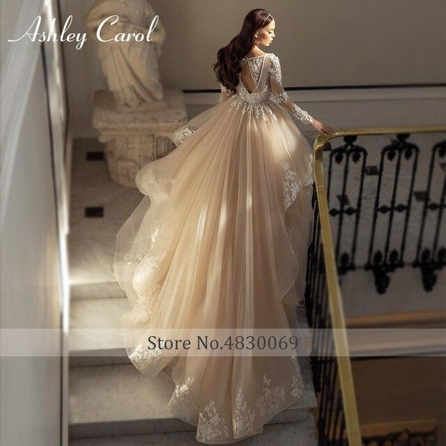 Ashley Carol A-Line Wedding Dress 2021 Glamorous Princess Long Sleeve Beading V-Neckline Appliques Bridal Gown Bride Dresses 3