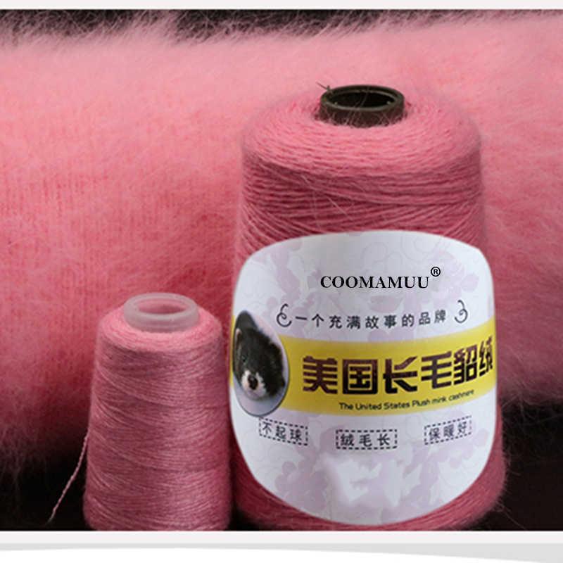 100 + 40G Genuína Longa de Pelúcia Mink Veludo Mão Tricô Fio Fio para a Mulher Suéter Extra Macia e Quente fio para o Inverno Frio