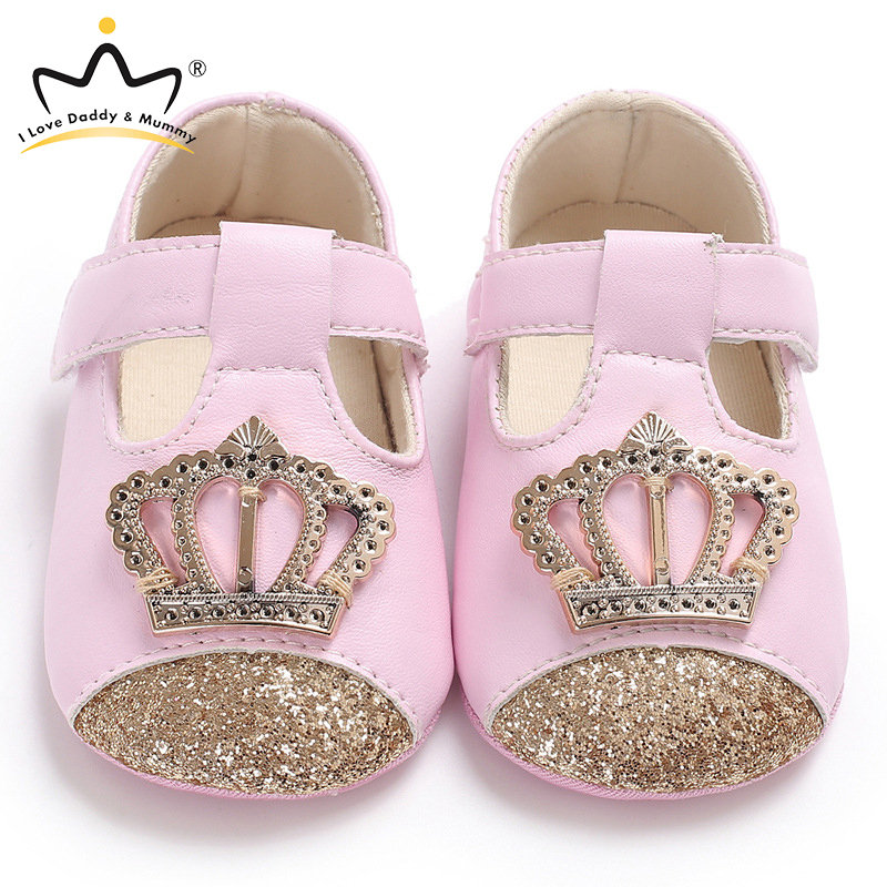 New Pink Crown Princess Baby Girl Shoes Soft Cotton PU Leather Mary Jane Newborn Toddler Shoes For Girls
