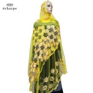 Image 5 - 2020 nowa afrykańska kobiety szaliki muzułmańskie haftowane netto szalik przezroczysty szalik koło Deisgn szalik na szale Pashmina BM802