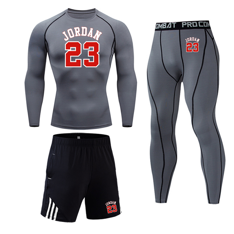 23 Jordan Print Sports Set Tights Shirt Compression T-Shirt Long Sleeve Fitness Training Top Sweatpants Full Man Tracksuit Gray