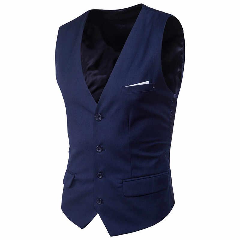 9 צבע גברים של עסקים מקרית Slim וסטים אופנה גברים מוצק צבע יחיד כפתורי וסטים Fit זכר חליפה לגברים אביב סתיו S-6XL