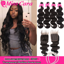 Miss Cara Remy Body Wave With 4X4 Closure Brazilian Hair Weave Bundles With Closure 100% Human Hair 3/4 Bundles With Closure
