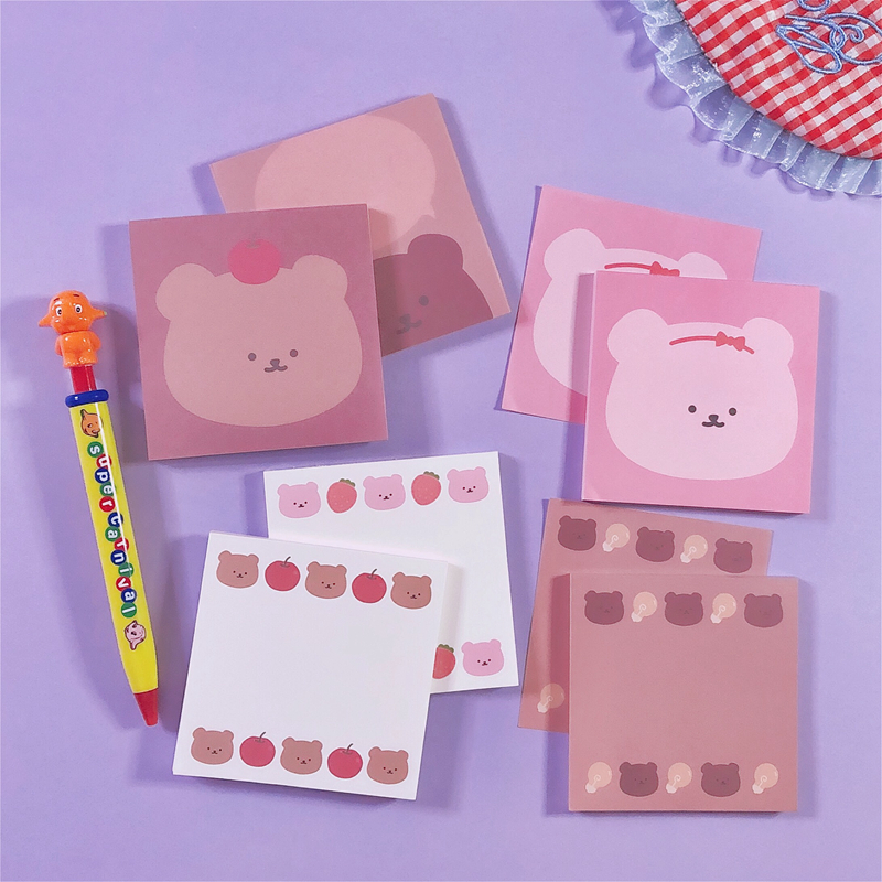 50Sheets/Lot Kawaii Korean INS Apple Bear Memo Pad N Times Sticky Notes Portable Notepad School Office Supply Stationery