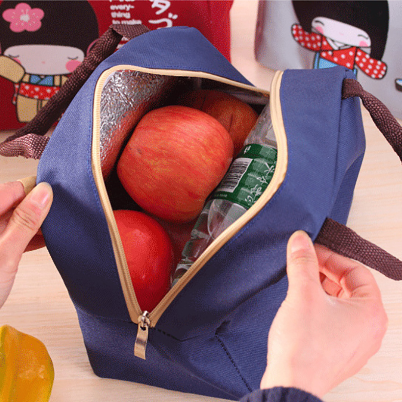 Free Ship╕1Pcs Printing Single Lunch Bag Thermal Insulated Cartoon Girl Cute Warm Lunch Bag