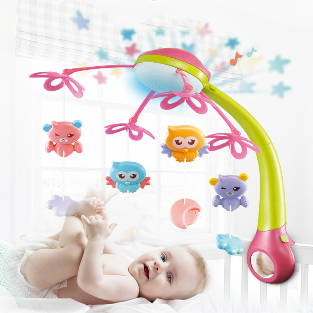 Baby Toys Bed Bell Musical Crib Mobile Hanging Cute Animals Rattles Newborn Early Learning Kids Toy With Light Projector Hot