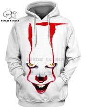 PLstar Cosmos horror mocies it Pennywiseart Clown 3d hoodies/shirt/Sweatshirt Winter autumn funny Harajuku streetwear
