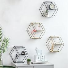Wall-Hanging Hexagonal Storage Rack Iron Shelf Combination  Geometric Figure Bedroom Living Room Decoration Removable