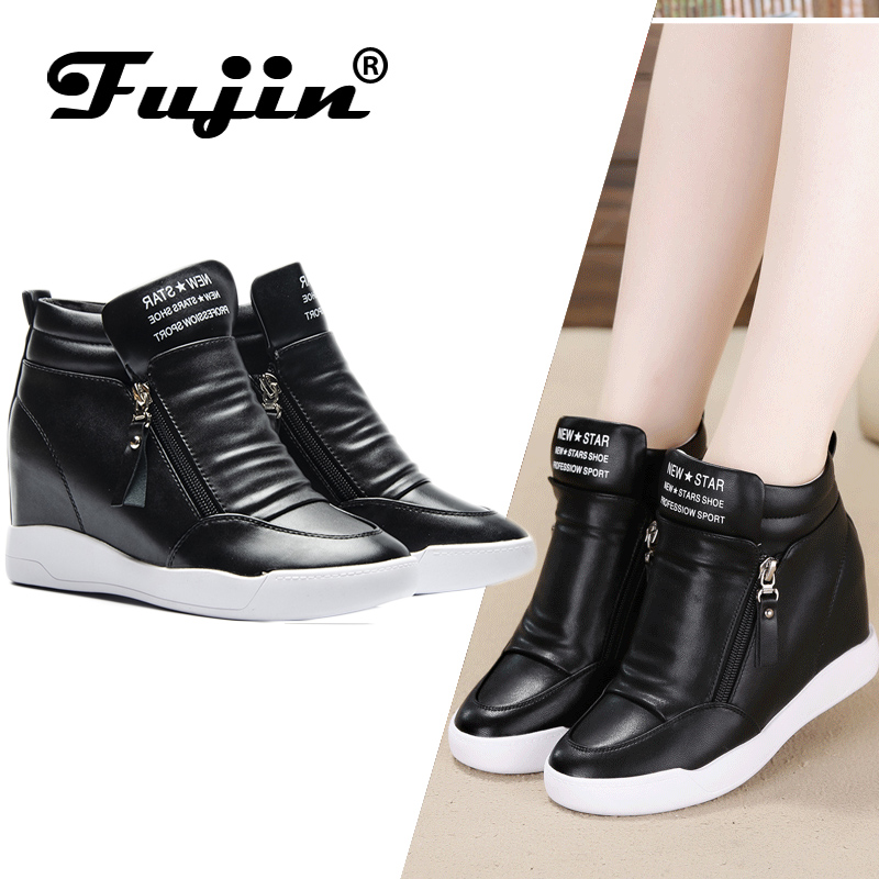 Fujin 2019 summer autumn platform wedge heel boots Women Shoes with increased platform sole female fashion casual zip botas