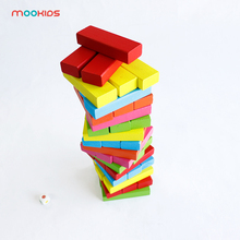Mookids Children Educational Toys 48PCS Wooden Large Colorful Blocks Building Jenga wooden Blocks Pulling Blocks wooden block colorful blocks education wood building and 48pcs chopping blocks for child learning shape