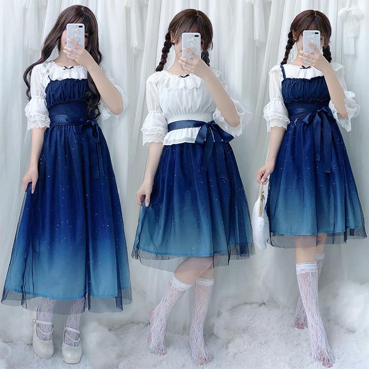 Japanese Sweet Lolita Dress Vintage Starry Sky Gradient Gauze Princess Victorian Dress Kawaii Girl Gothic Lolita Jsk Loli Cos