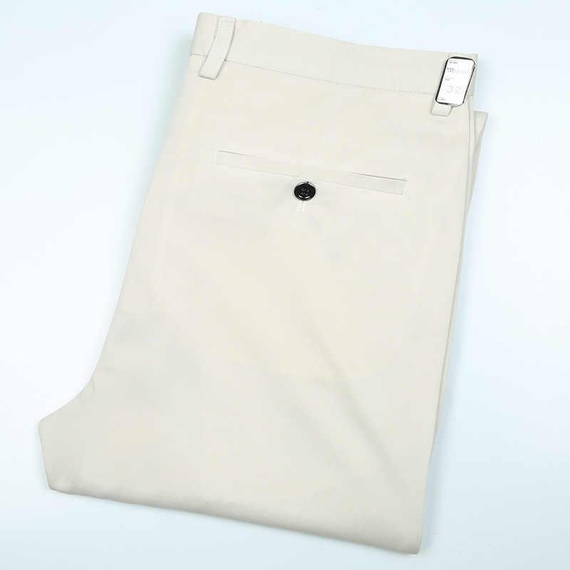 Pantaloni di estate Degli Uomini di Alta Vita Vestito di Pantaloni di cotone Pantaloni Maschili Sottile Non-Ferro di Lavoro Ufficio Vestito di Affari Formale Sociale Degli Uomini pantaloni di Stirata