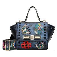 Luxury New Fashion Butterfly Embroidery Rivet Women Handbag Color Straps Wide Shoulder Bag Trapeze Messenger Bags