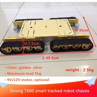 T600 Metal Tracked Robot Tank Chassis Platform 4WD Heavy Load Tracked Chassis Model with 9V/12V Motor for DIY Robot Project