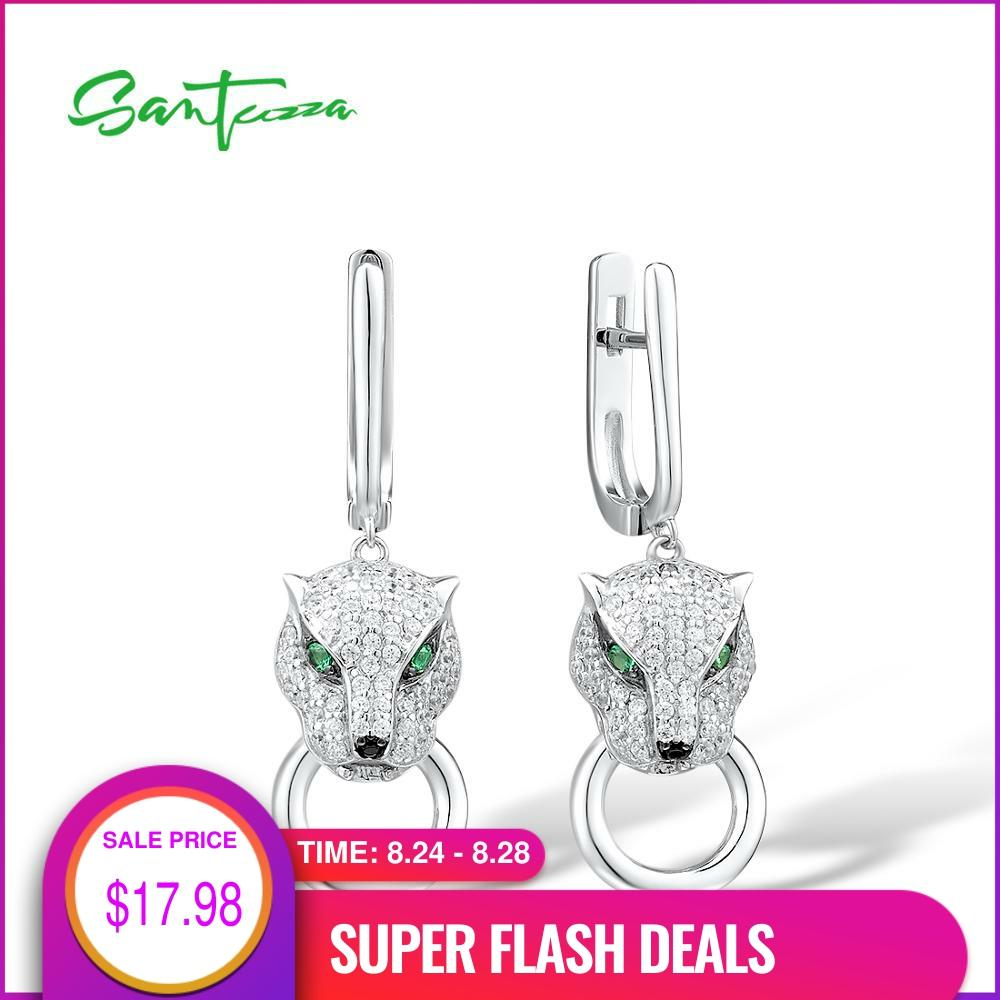 SANTUZZA Silver Earrings For Women Pure 925 Sterling Silver Dangle Panther Earrings Long Cubic Zirconia brincos Fine Jewelry