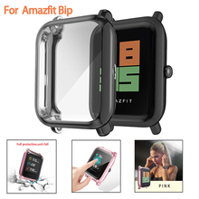 Screen Protector Slim Colorful Frame TPU Case Cover Protect Shell For Huami Amazfit Bip Younth Watch with Screen Protector cheap CAOWTAN Rubber CN(Origin) for amazfit bip screen protector AMB0013