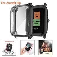 Protector de pantalla fino, marco colorido, funda TPU, funda protectora para reloj Huami Amazfit Bip Younth con protector de pantalla