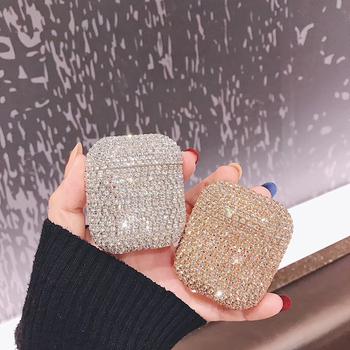 Gorące luksusowe 3D błyszczące diamenty brokat twarda obudowa dla apple airpods Pro 1 2 3 bezprzewodowe akcesoria do słuchawek Bluetooth śliczna okładka tanie i dobre opinie Torby for airpods Silikon
