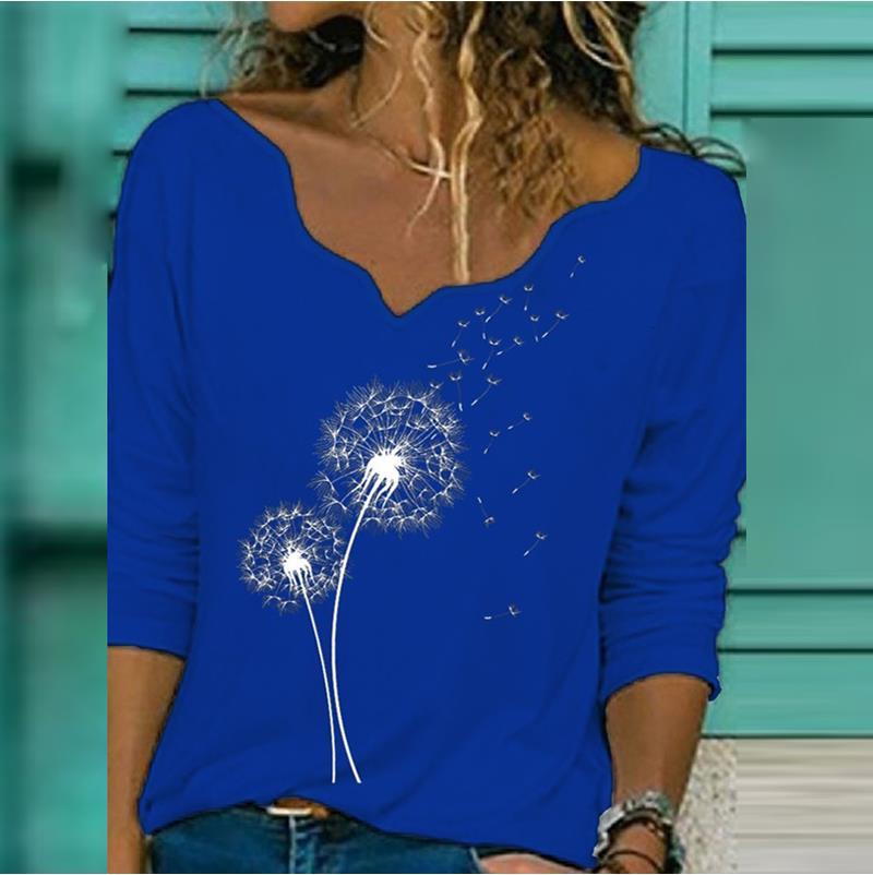 Elegant V Neck Long Sleeve T shirt Woman Dandelion Tshirt Print Casual Shirts 2020 Fashion Streetwear Women Tops Pullover