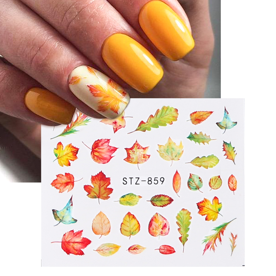 Image 2 - 1pcs Fall Leaves Nail Art Stickers Gold Yellow Maple Leaf Water Decals Sliders Foil Autumn Design For Nail Manicure TRSTZ856 859-in Stickers & Decals from Beauty & Health