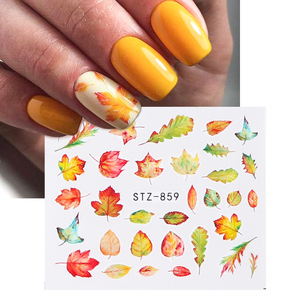 Image 2 - 1pcs Fall Leaves Nail Art Stickers Gold Yellow Maple Leaf Water Decals Sliders Foil Autumn Design For Nail Manicure TRSTZ856 859