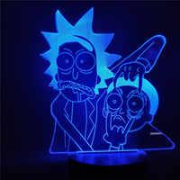 СВЕТОДИОДНЫЙ 3D ночник Rick and Morty, мультяшный стол, настольная лампа для детей, ночник, лампа для спальни, рождественский подарок, украшение для...