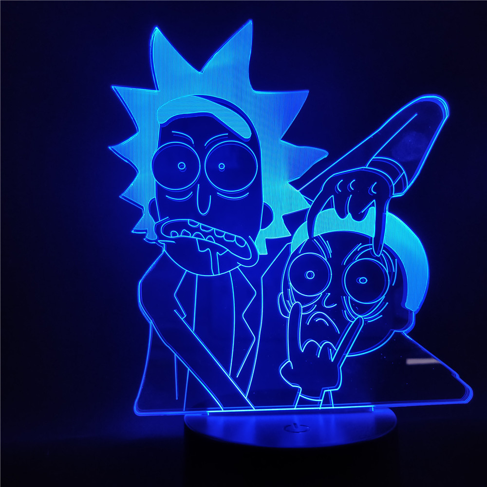 Rick And Morty LED 3D Night Light Cartoon Table Desk Lamp Children Night Lampara Change Bedroom Xmas Gift Home Decoration Kids
