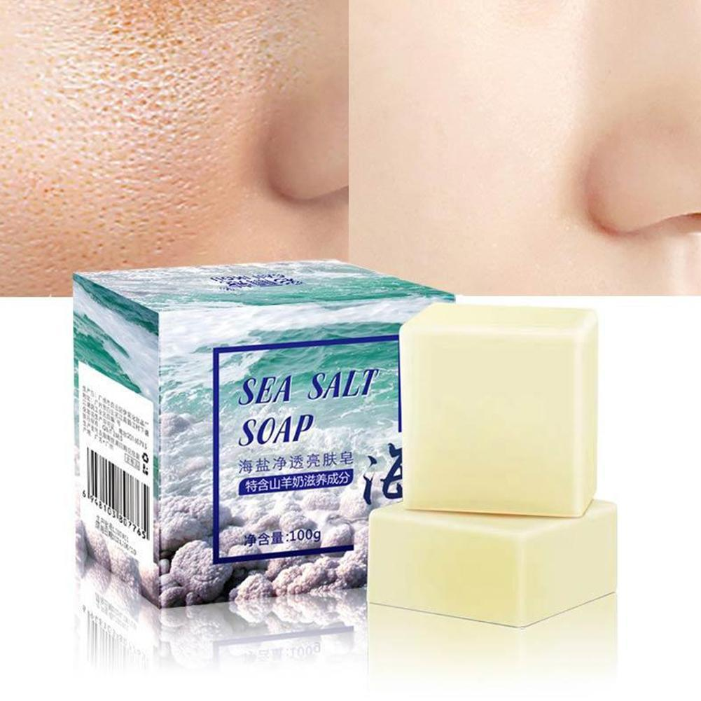 Sea Salt Soap Whitening Moisturizing Wash Base Removal Care Treatment Face Pores Acne Pimple Foaming Net With V8U1