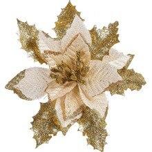 0PCS/17cm Christmas Tree Ornaments Silk Flower Gold Poinsettia Bush Red Artificial Flowers Decor