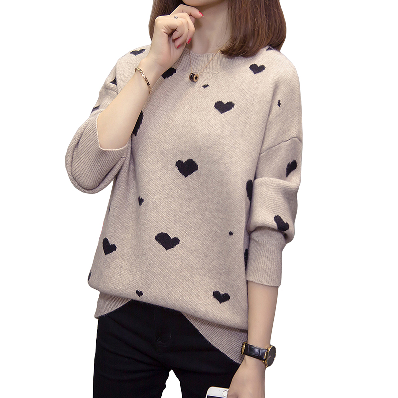 Nkandby Plus Size Pullover For Women 2019 Autumn Winter Heart Knitted Sweaters Oversized Ulzzang Korean Knitwear Jumpers 5xl