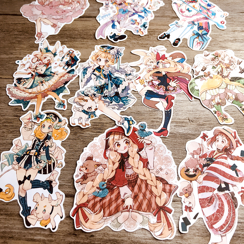 11PCS Anime Girl Dream Hand Account Sticker Refrigerator Suitcase Skateboard Mobile Phone Stickers