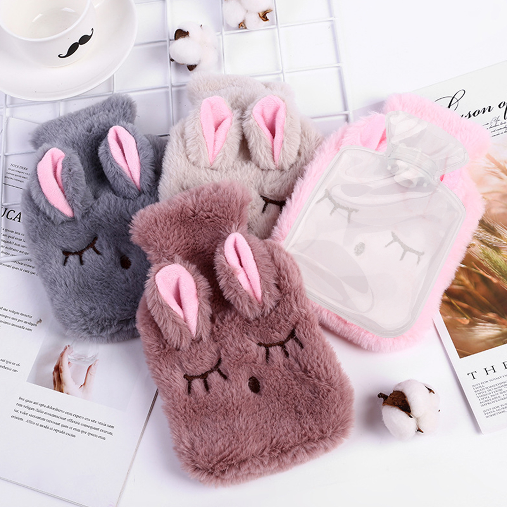 Winter Cartoon Rabbit Hot Water Bottle PVC Stress Pain Relief Therapy Hot Water Bag With Knitted Soft Cozy Cover Hand Warmer 1pc