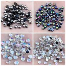 Robe de mariée à dos plat AB, 4mm, 5mm, 6mm et 10mm, perles blanches et noires claires, garniture en strass acrylique en demi-cercle, bricolage, S68