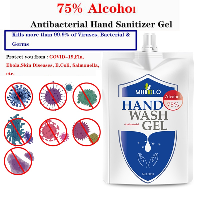 50ml 75% Alcohol Quick-drying Disinfecting Hand Sanitizer Gel Disposable Antibacterial Hand Sanitizer Portable Bag Hand Soaps