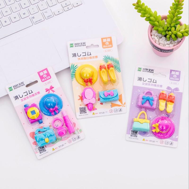 4pcs/lot Lovely Girl Series Hat High Heel Handbag Gift Cartoon Rubber Pencil Erasers School Prizes Kid Gifts