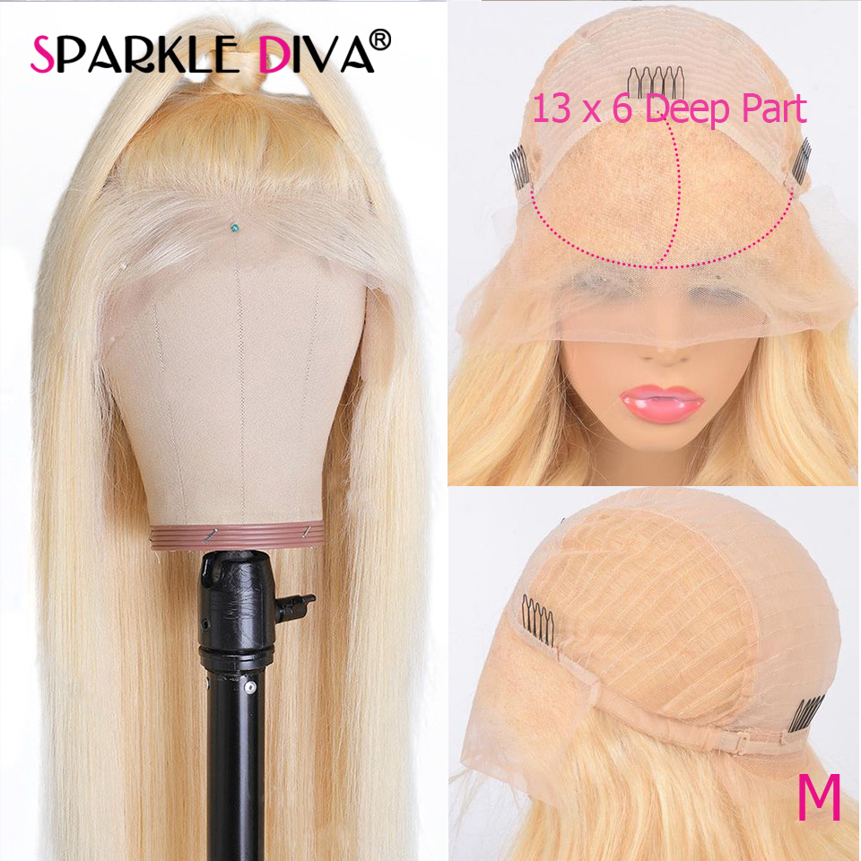 613 Blonde Lace Front Human Hair Wigs 13x6 Deep Part Brazilian Human Hair Wigs 150 Density Remy 613 Transparent Lace Front Wig