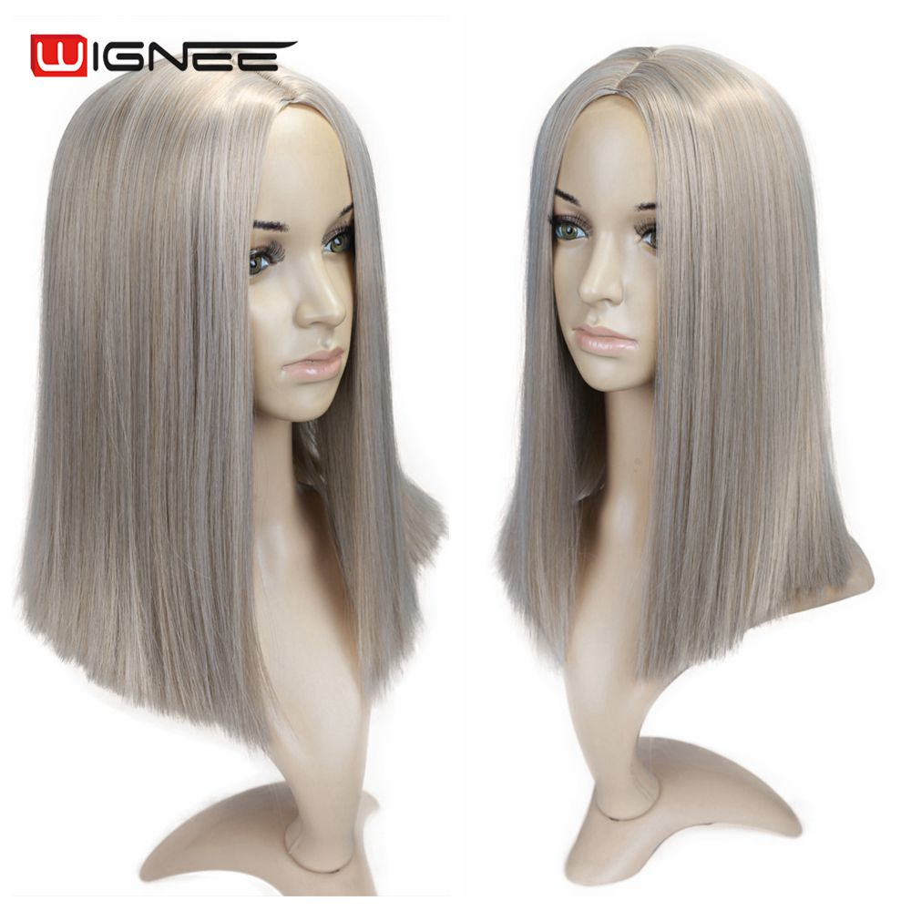 H40643753b59f4f4c9387fe9516b91220o - Wignee 2 Tone Ombre Brown Ash Blonde Synthetic Wig for Women Middle Part Short Straight Hair High Temperature Cosplay Hair Wigs