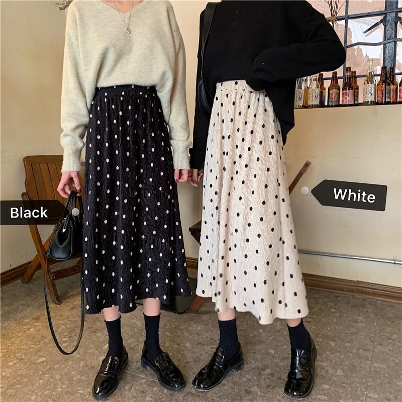 Polka Dot Skirt Women's 2019 Autumn And Winter New Style High-waisted Slimming Mid-length Pleated Skirt Korean-style CHIC Studen