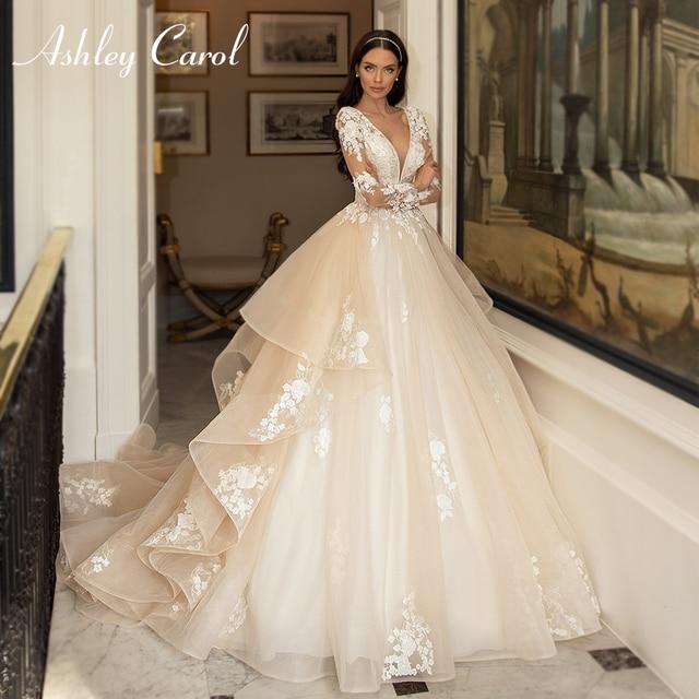 Ashley Carol A-Line Wedding Dress 2021 Glamorous Princess Long Sleeve Beading V-Neckline Appliques Bridal Gown Bride Dresses 1
