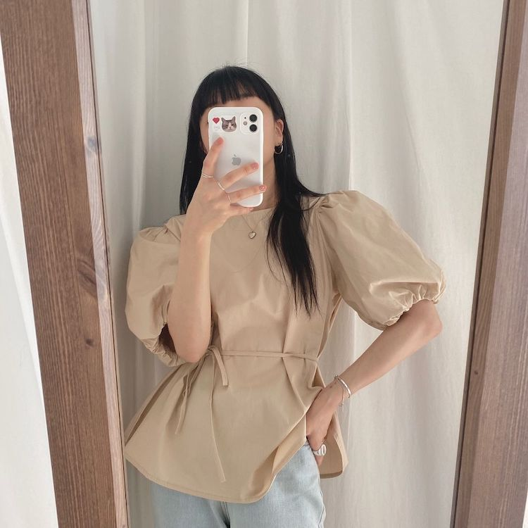 H406456eb45c246b8bd9e4a320f95fbacP - Summer O-Neck Short Puff Sleeves Cotton Lace-Up Solid Blouse