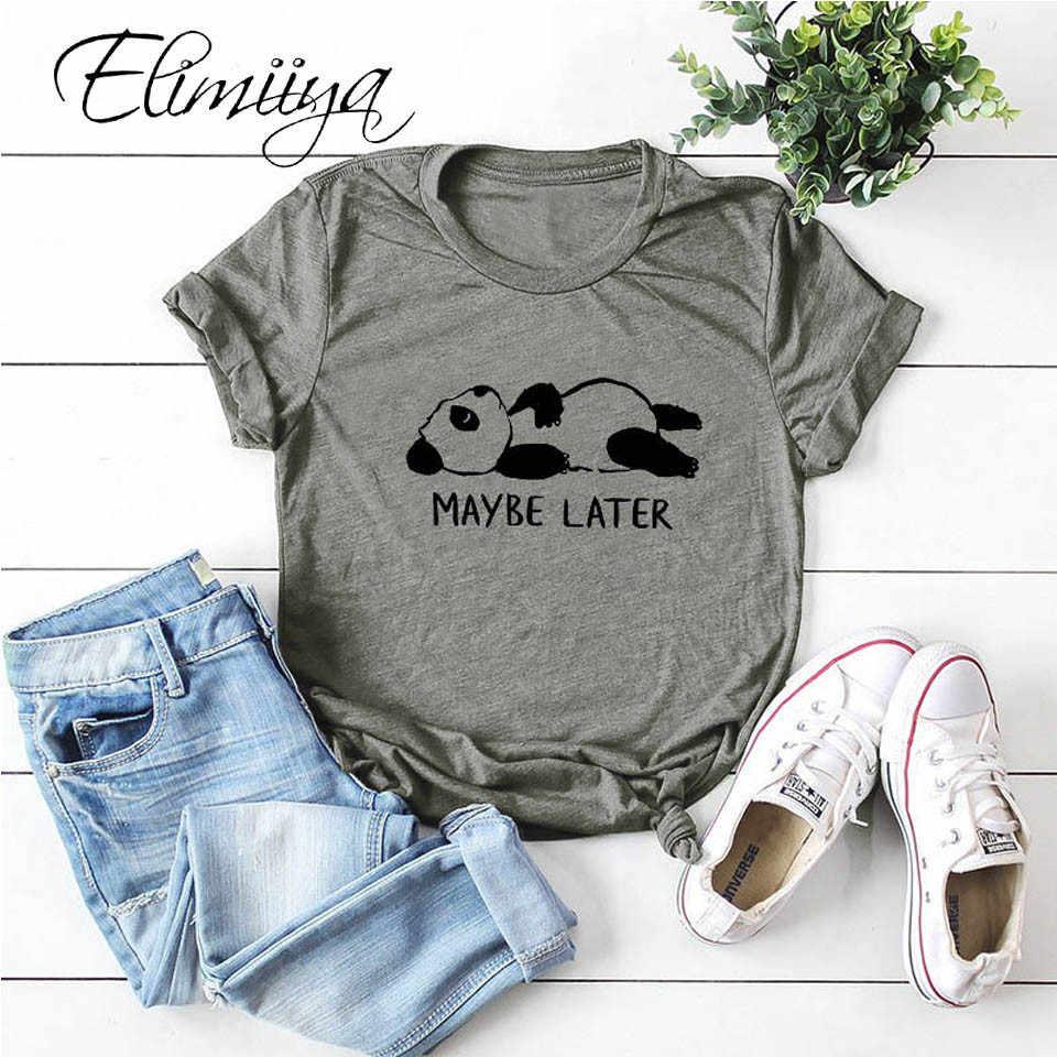 Elimiiya kungfu 팬더 코 튼 T 셔츠 여성 플러스 크기 짧은 슬리브 인쇄 T-셔츠 만화 tshirt femme o-넥 Kawaii 탑스 티셔츠